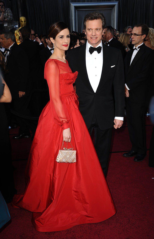 Colin Firth y Livia Giuggioli en la alfombra roja de los Oscar 2012