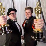 William Joyce y Brandon Oldenburg, ganadores del Oscar al mejor corto animado por 'The Fantastic Flying Books of Mr. Morris Lessmore'.