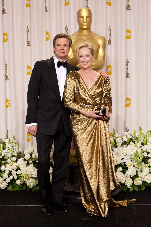 Colin Firth y la ganadora del Oscar 2012 a la mejor actriz, Meryl Streep