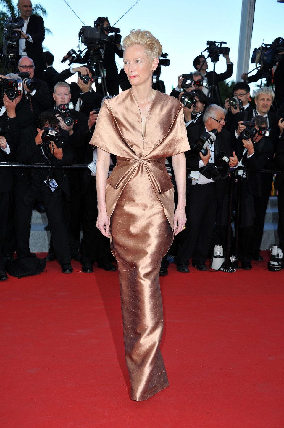 Tilda Swinton en la inauguración del Festival de Cannes 2012