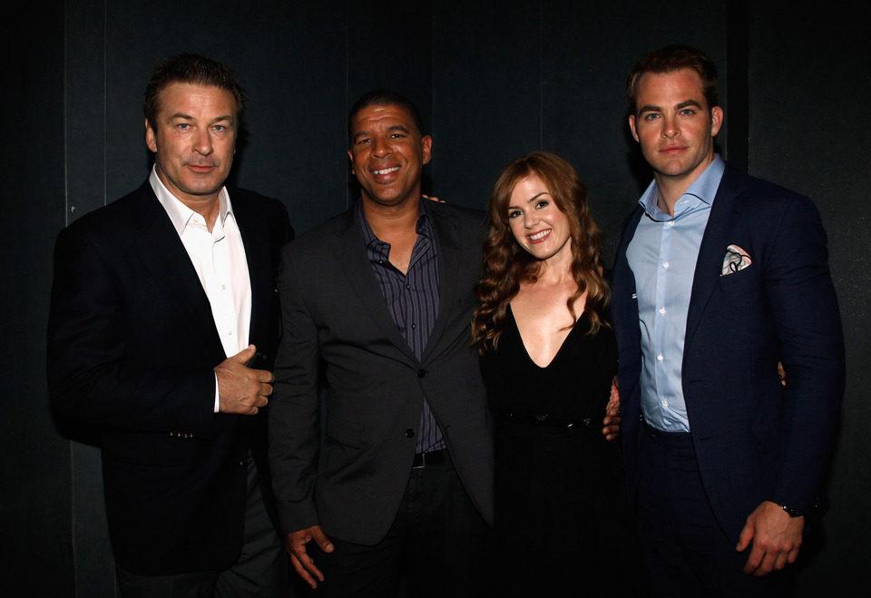 Alec Baldwin, Peter Ramsey, Isla Fisher y Chris Pine en el Festival de Cannes 2012
