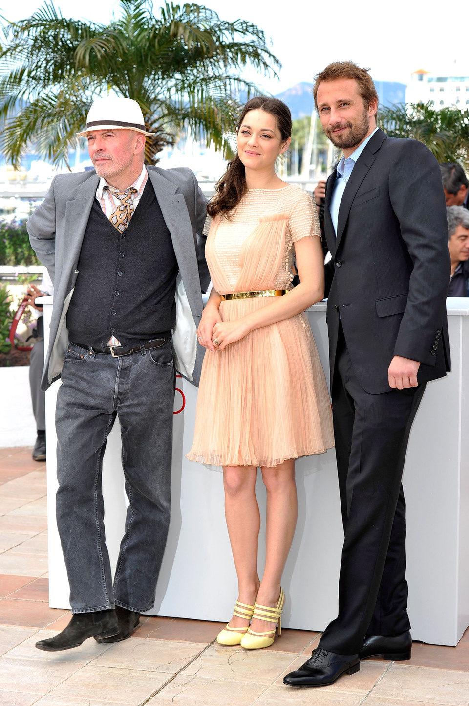 Jacques Audiard, Marion Cotillard y Matthias Schoenaerts en el Festival de Cannes 2012