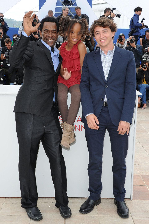 Dwight Henry, Quvenzhane Wallis y Benh Zeitlin en el Festival de Cannes 2012