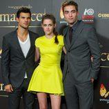 Taylor Lautner, Kristen Stewart y Robert Pattinson en el estreno en Madrid de 'Amanecer. Parte 2'