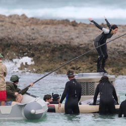 Jennifer Lawrence salta en el rodaje de 'Los Juegos del Hambre: En llamas'