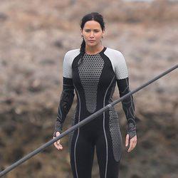 Jennifer Lawrence es Katniss Everdeen en el rodaje de 'Los Juegos del Hambre: En llamas'