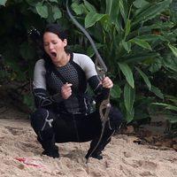 Jennifer Lawrence bosteza en el rodaje de 'Los Juegos del Hambre: En llamas'