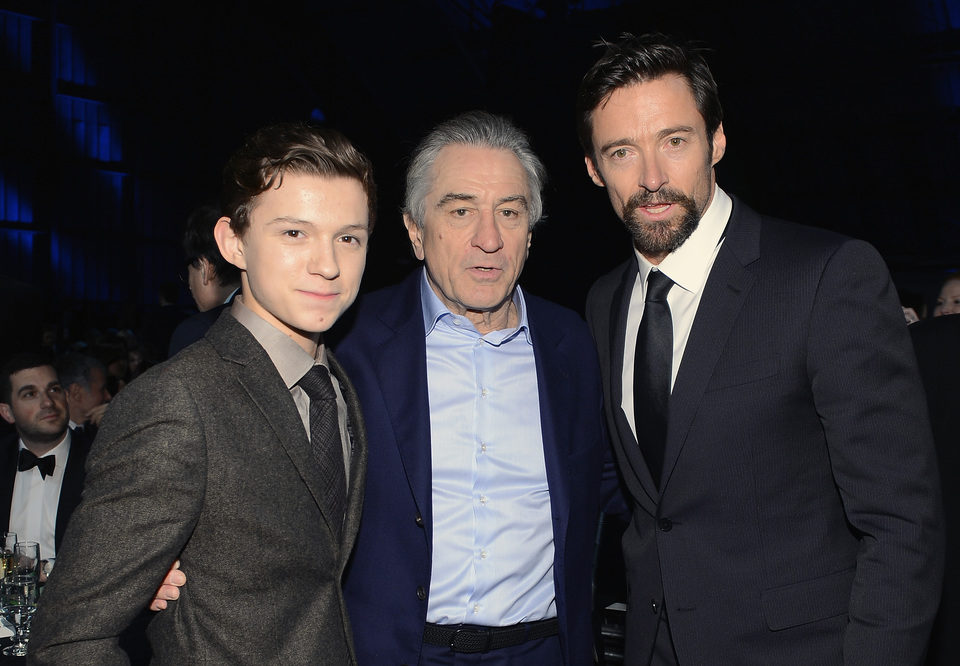 Tom Holland, Robert De Niro y Hugh Jackman en la gala de los Critics' Choice Movie Awards 2013