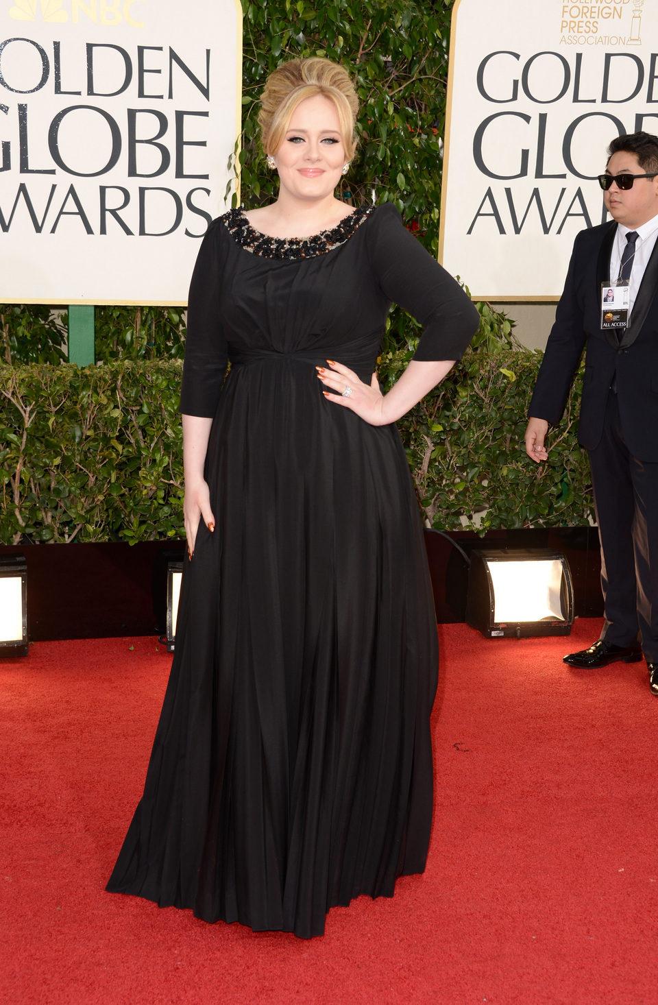 Adele en la alfombra roja de los Globos de Oro 2013