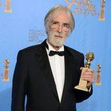 El director de 'Amor' Michael Haneke con el Globo de Oro 2013 a Mejor película extranjera