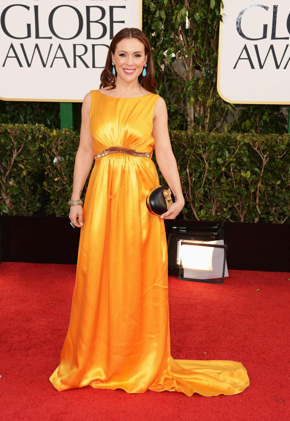 Alyssa Milano en la 70 edición de los Globos de Oro