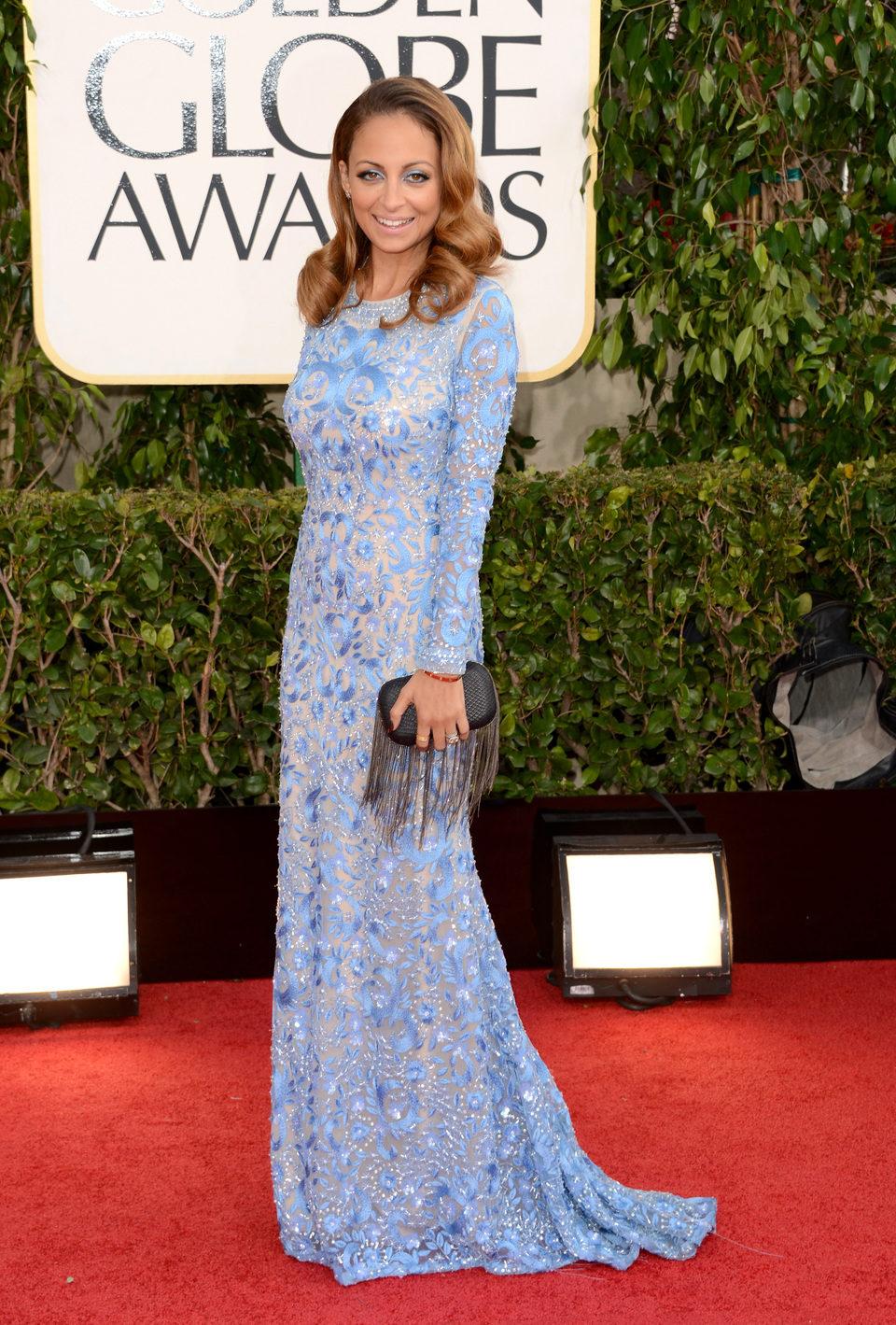 Nicole Richie en la alfombra roja de los Globos de Oro 2013