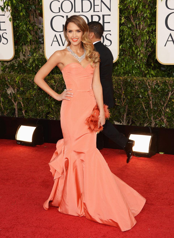 Jesica Alba en la alfombra roja de los Globos de Oro 2013