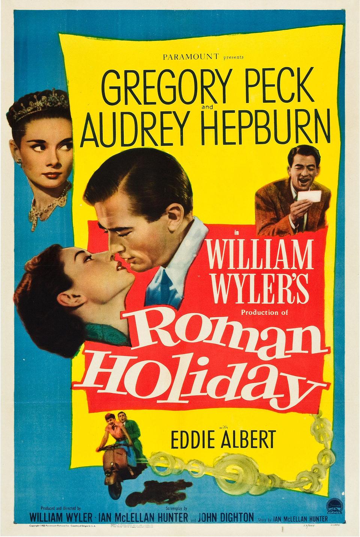 Audrey Hepburn en el cartel de 'Vacaciones en Roma'