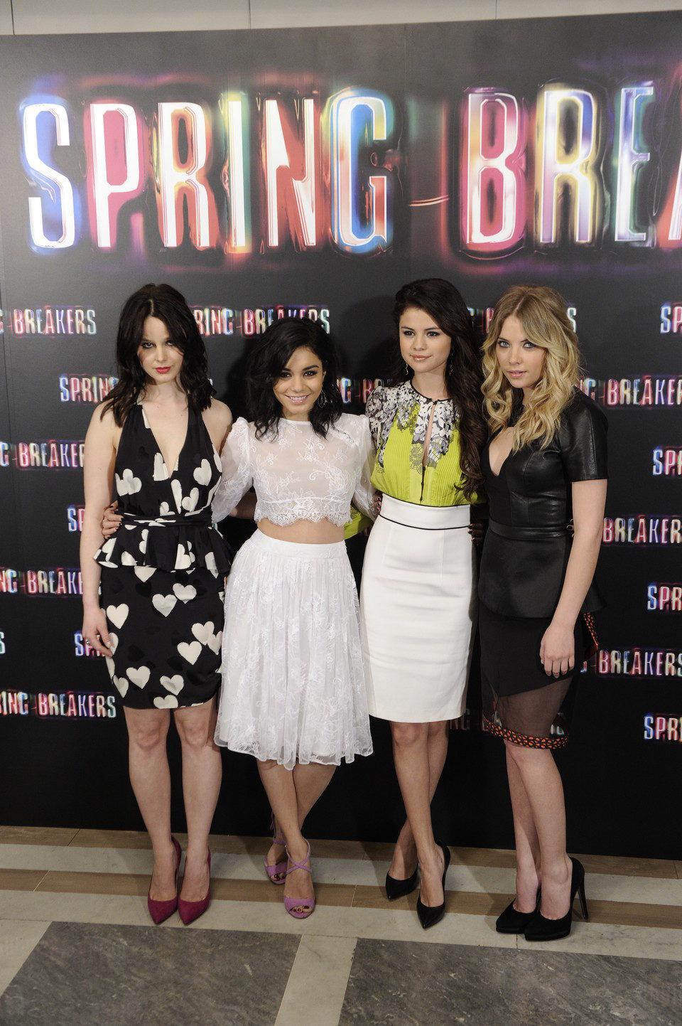 Rachel Korine, Vanessa Hudgens, Selena Gomez y Ashley Benson presentan 'Spring Breakers' en Madrid