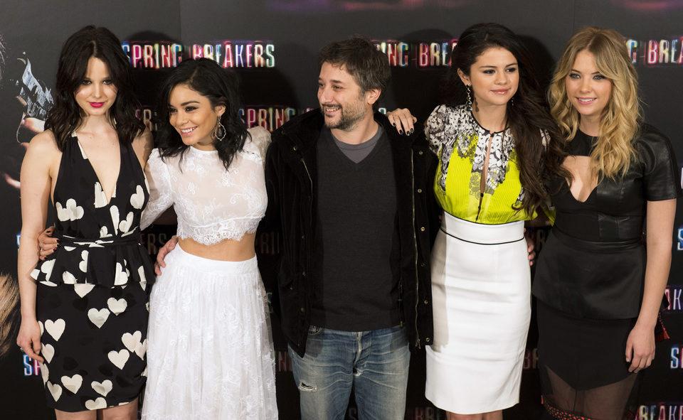 El equipo de 'Spring Breakers' en la presentación en Madrid