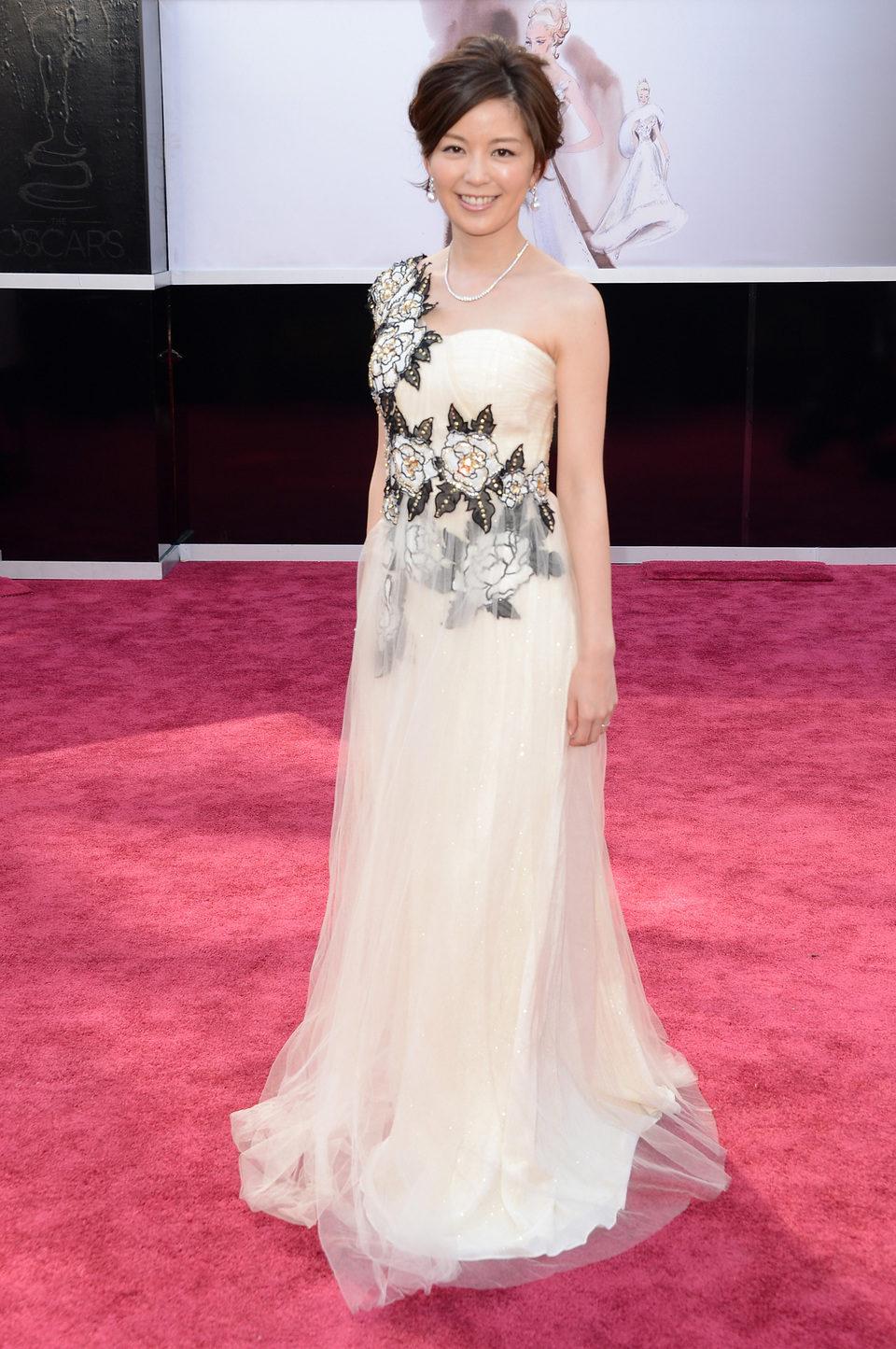 Minako Nakano en la alfombra roja de los Oscar 2013