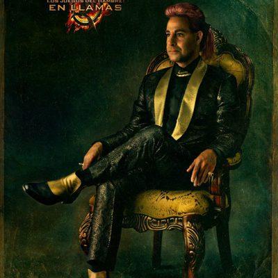 Retrato de Caesar Flickerman en 'Los Juegos del Hambre: En llamas'