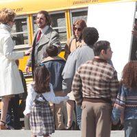 Jennifer Lawrence, Christian Bale y Amy Adams en el rodaje de 'American Bullshit'