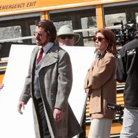 Christian Bale y Amy Adams en la grabación de 'American Bullshit'