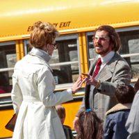 Jennifer Lawrence y Christian Bale en el rodaje de 'American Bullshit'