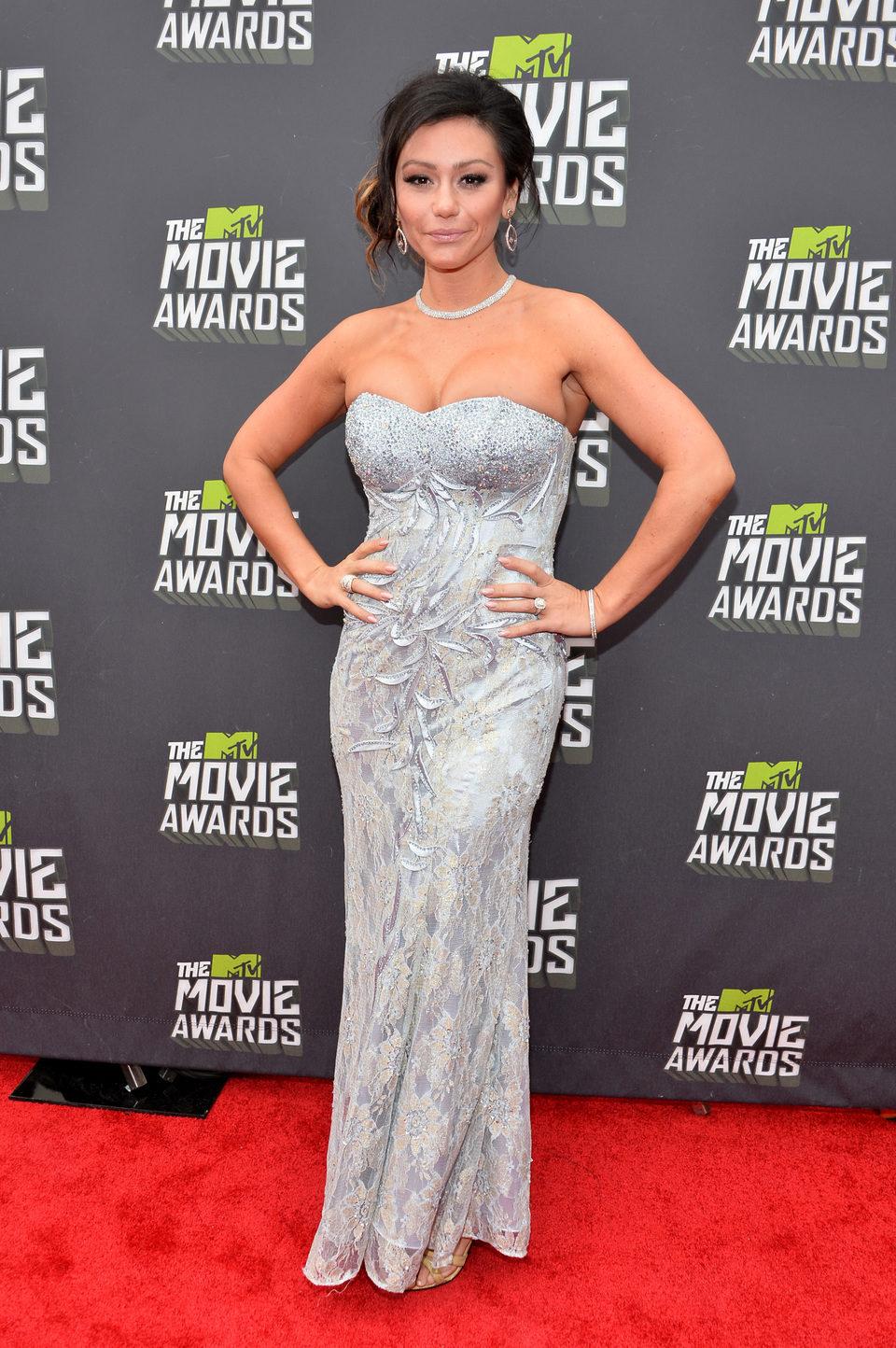 Jenni Farley en la alfombra roja de la entrega de los MTV Movie Awards 2013