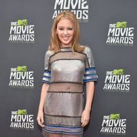 La cantante Kylie Minogue en la alfombra roja de los MTV Movie Awards 2013