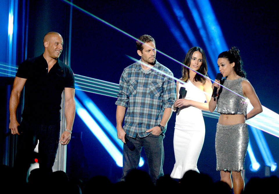 Vin Diesel, Paul Walker, Jordana Brewster y Michelle Rodriguez en los MTV Movie Awards 2013