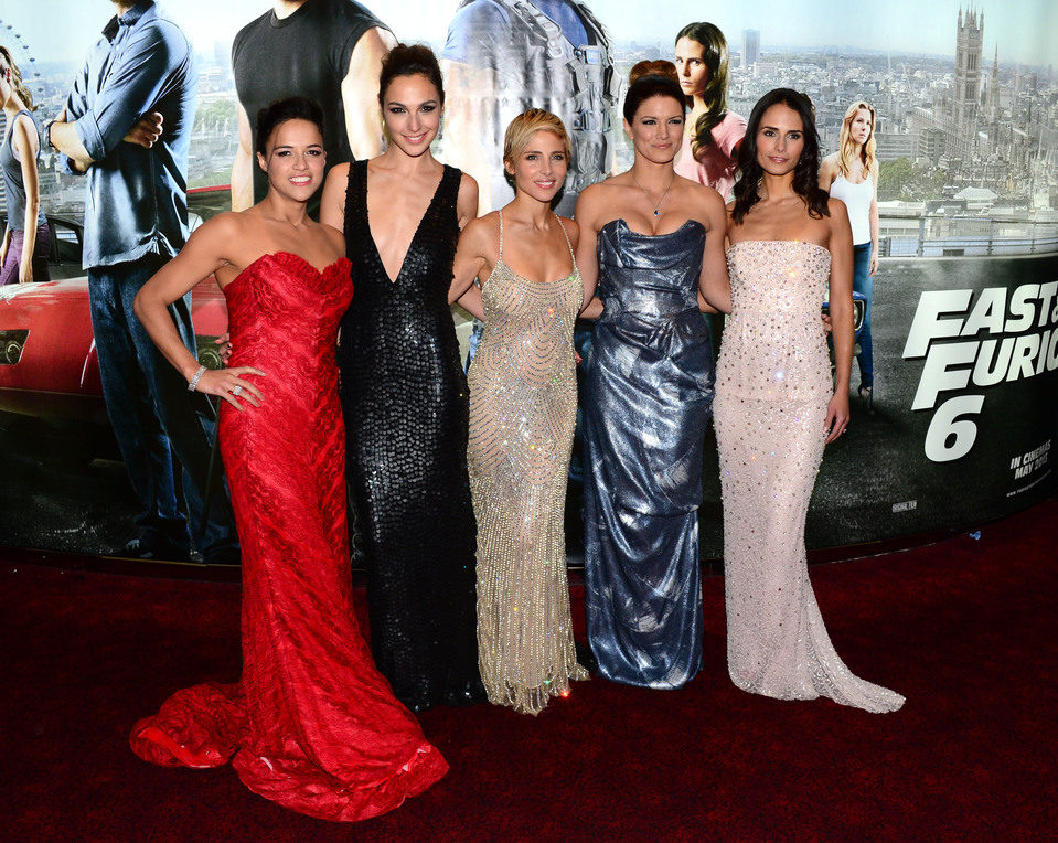 Michelle Rodriguez, Gal Gadot, Elsa Pataky, Gina Carano y Jordana Brewster en la premiere mundial de 'Fast & Furious 6'
