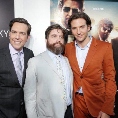 Bradley Cooper, Zach Galifianakis y Ed Helms en la premiere de 'R3sacón' en Los Ángeles