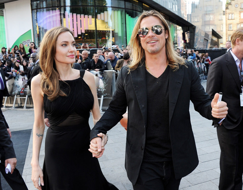 Angelina Jolie y Brad Pitt a su llegada al estreno de 'Guerra Mundial Z' en Londres