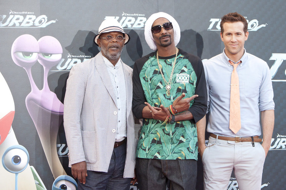 Samuel L. Jackson, Snoop Dogg y Ryan Reynolds en la presentación en Barcelona de 'Turbo'