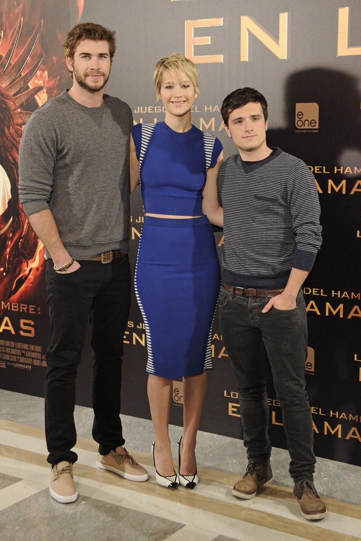 Liam Hemsworth, Jennifer Lawrence y Josh Hutcherson en la presentación de 'Los Juegos del Hambre: En llamas' en Madrid