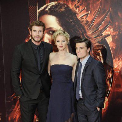 Liam Hemsworth, Jennifer Lawrence y Josh Hutcherson en la premiere de 'Los Juegos del Hambre: En llamas' en Madrid