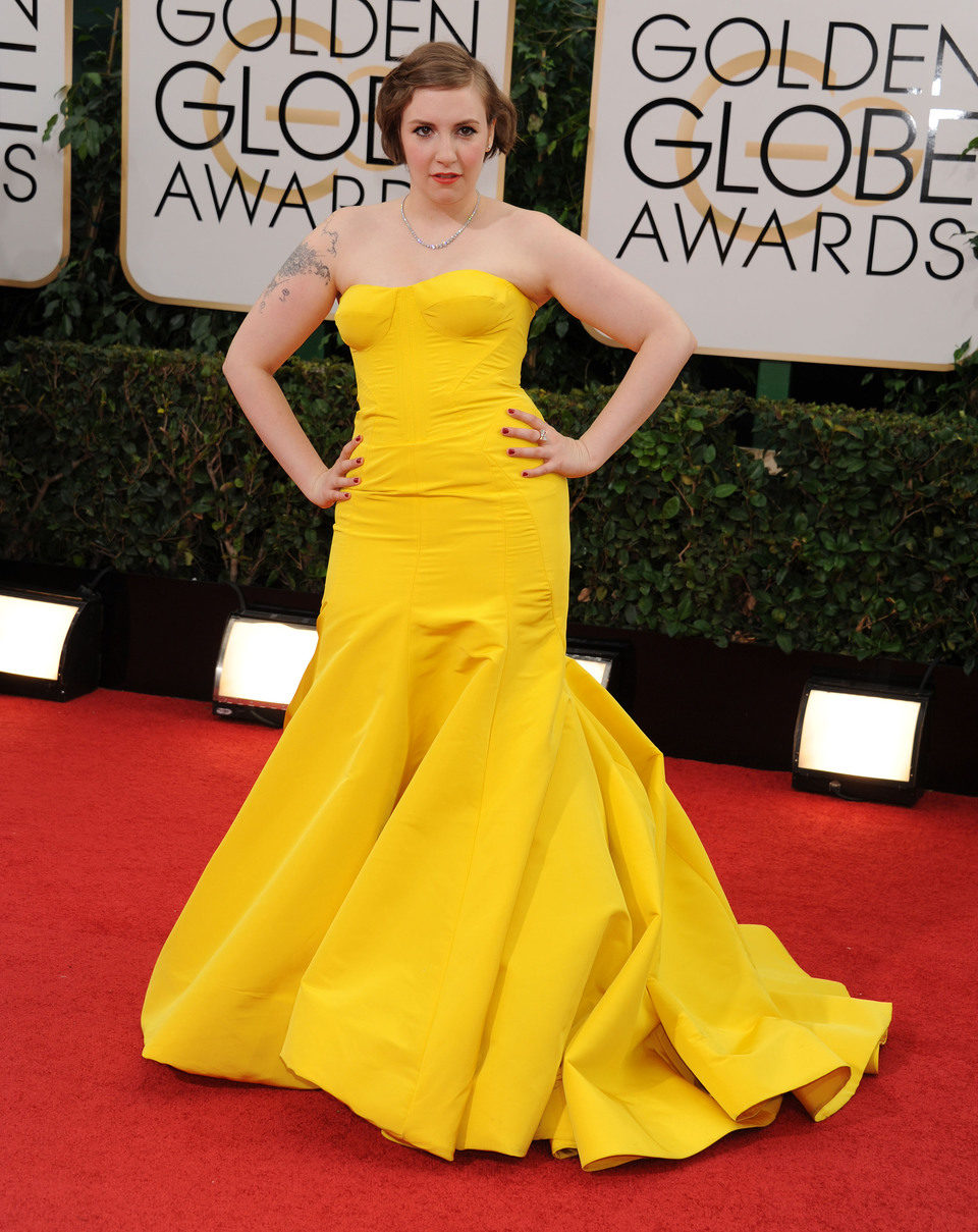 Lena Dunham en los Globos de Oro 2014