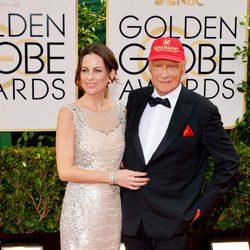 Birgit Wetzinger y Niki Lauda en los Globos de Oro 2014