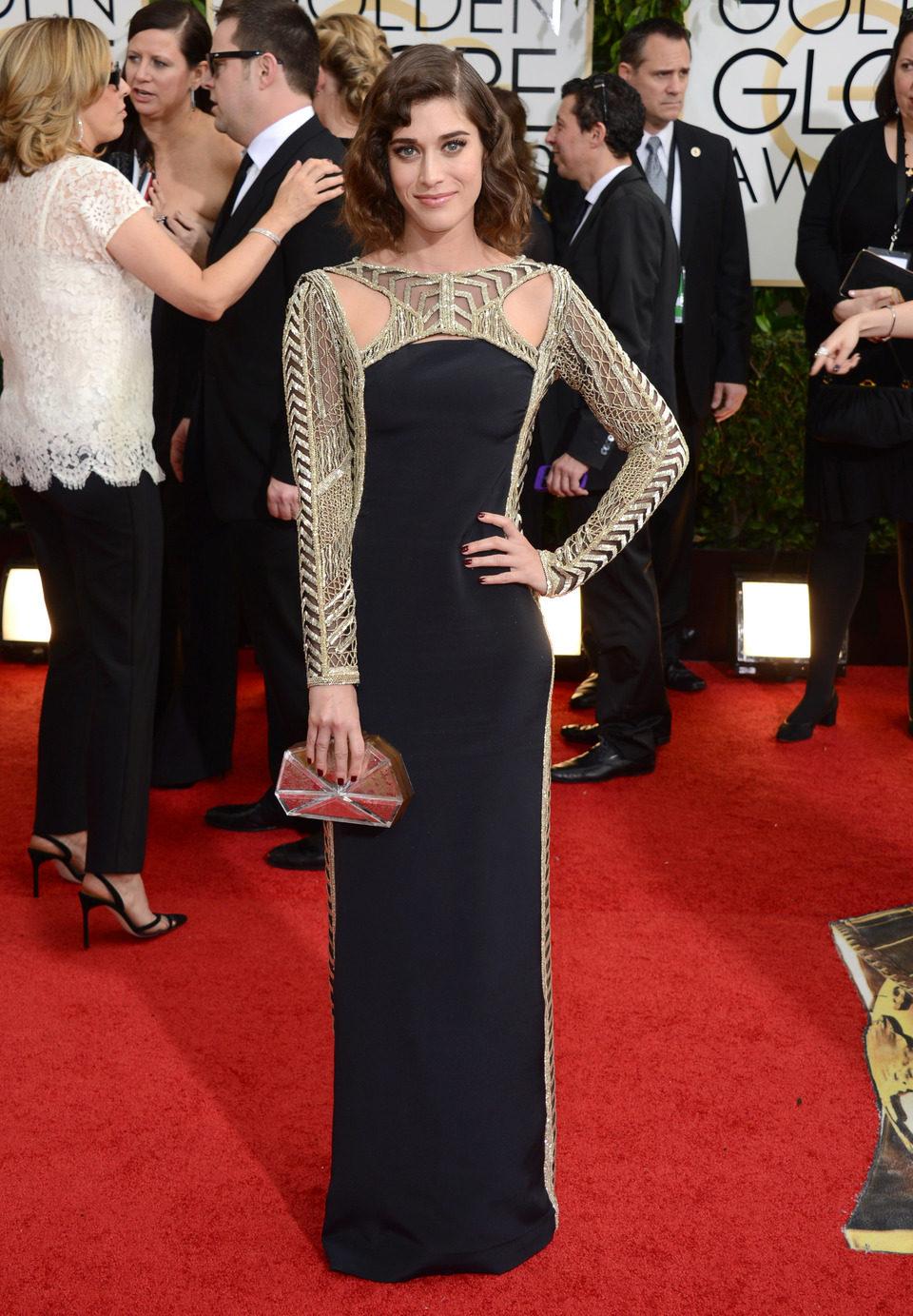 Lizzy Caplan en los Globos de Oro 2014