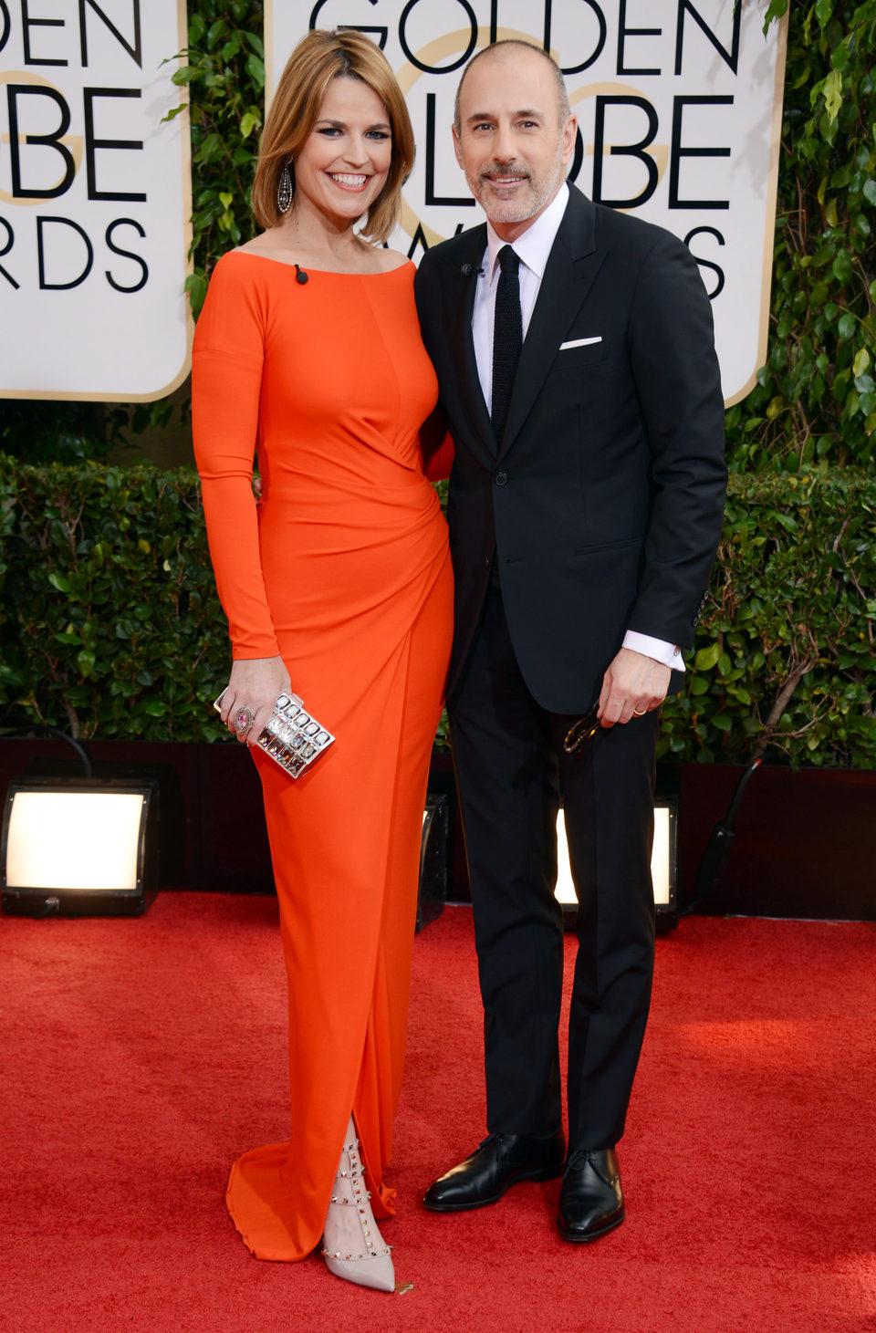 Matt Lauer y Savannah Guthrie en los Globos de Oro 2014