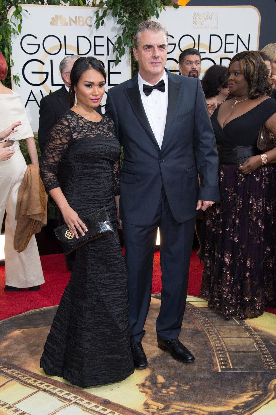 Tara Wilson y Chris Noth en los Globos de Oro 2014