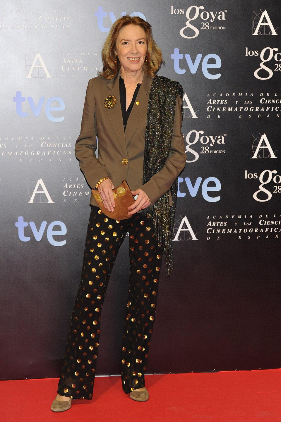 Susi Sánchez en la alfombra roja de la fiesta de los nominados a los premios Goya 2014
