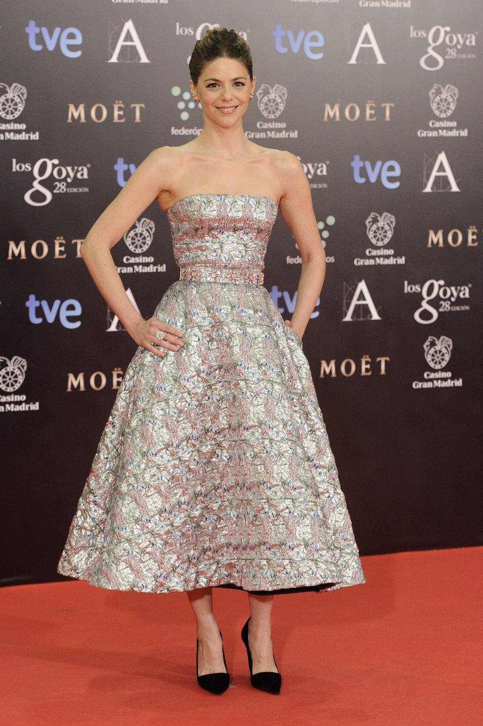 Manuela Velasco en la alfombra roja de los Goya 2014