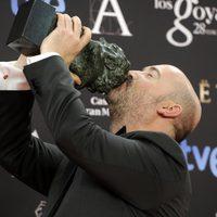 Javier Cámara posa con su Goya al mejor actor protagonista