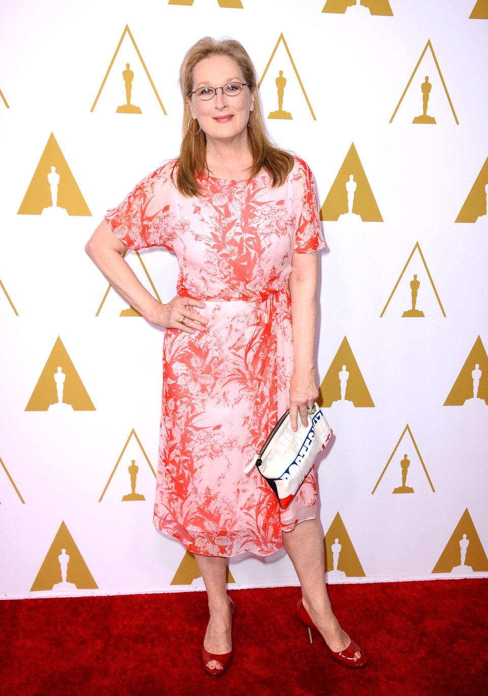 Meryl Streep en el almuerzo de los nominados a los Premios Oscar 2014