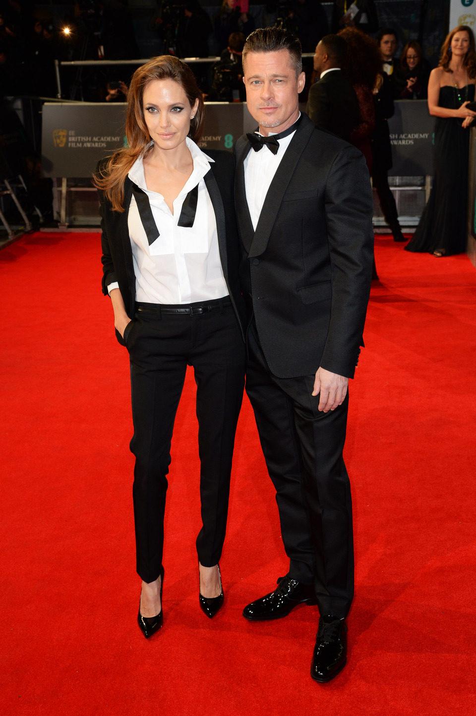 Brad Pitt y Angelina Jolie en la alfombra roja de los BAFTA 2014