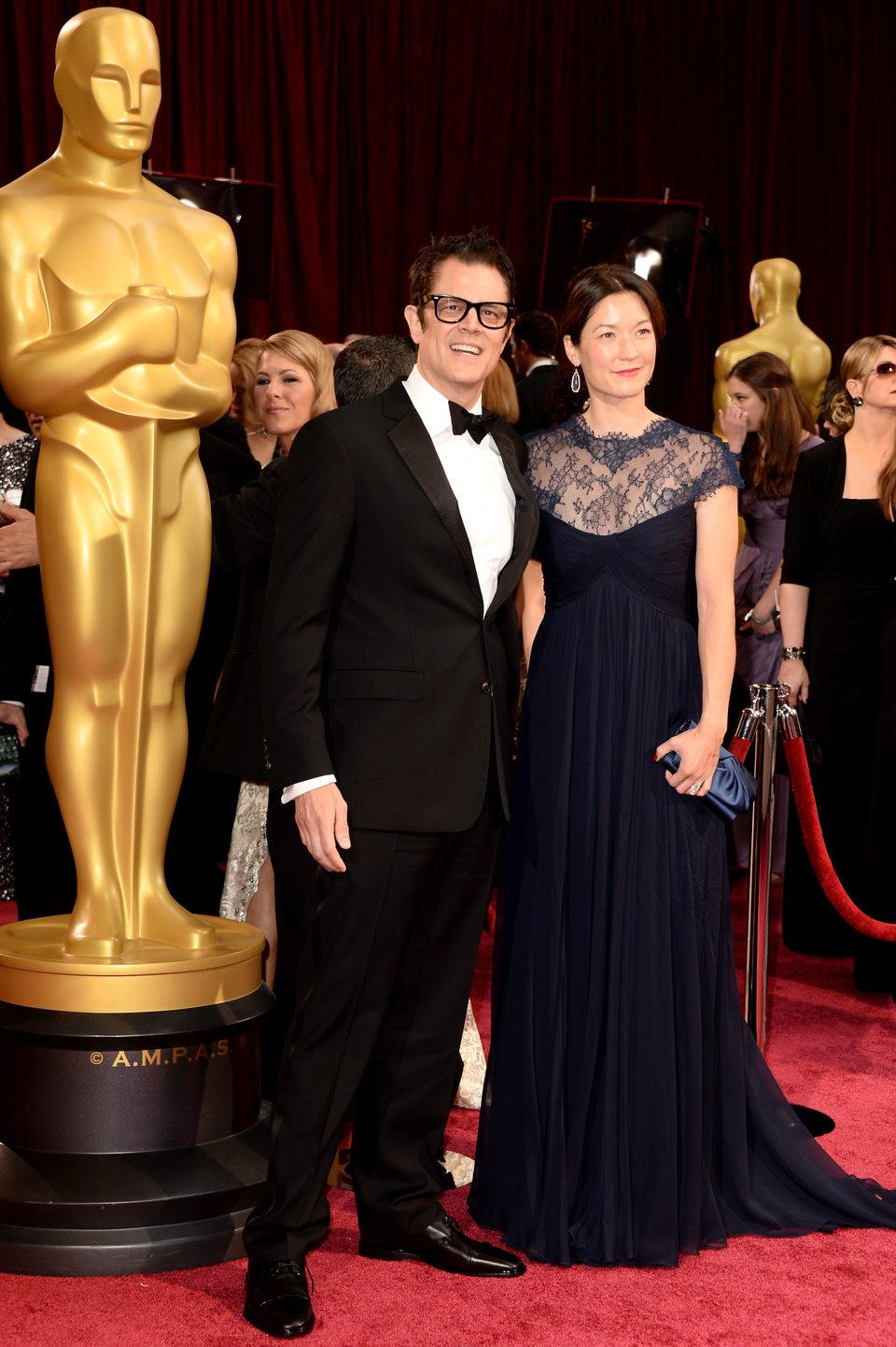 Johnny Knoxville y Naomi Nelson en la alfombra roja de los Oscar 2014