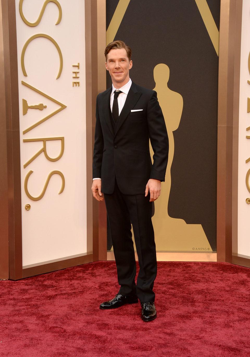 Benedict Cumberbatch en la alfombra roja de los Oscar 2014