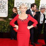 Helen Mirren en la alfombra roja de los Globos de Oro 2015