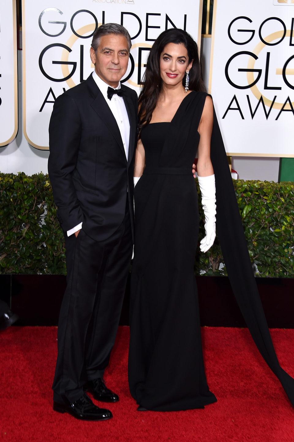 George Clooney y Amal Alamuddin en la alfombra roja de los Globos de Oro 2015