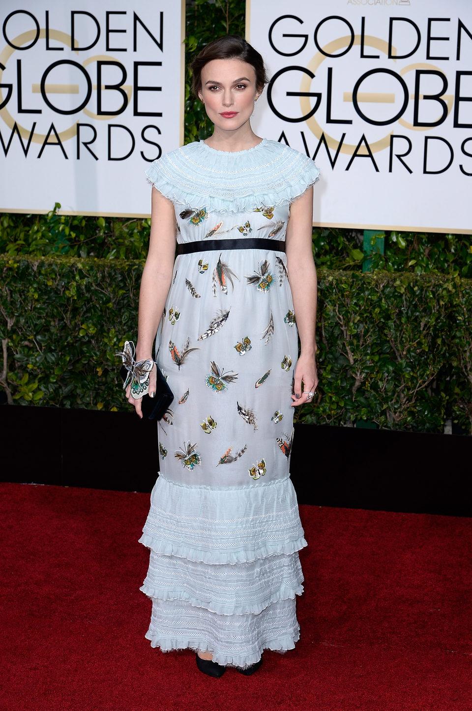 Keira Knightley en la alfombra roja de los Globos de Oro 2015