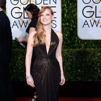 Jessica Chastain at the Golden Globes 2015 red carpet